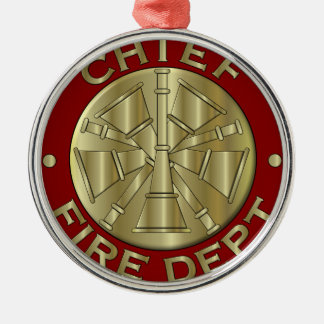 Fire Department Chief Brass Symbol Christmas Ornament