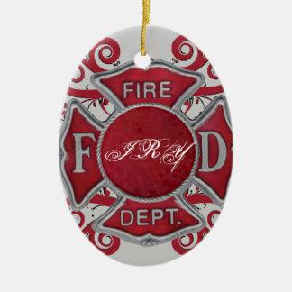 Fire Department Custom Monogram Ceramic Oval Decoration