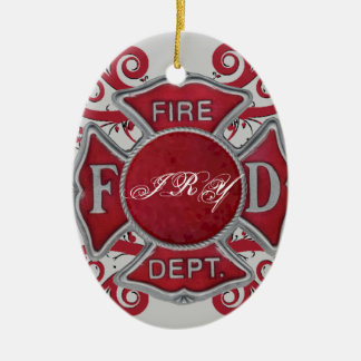Fire Department Custom Monogram Christmas Ornament