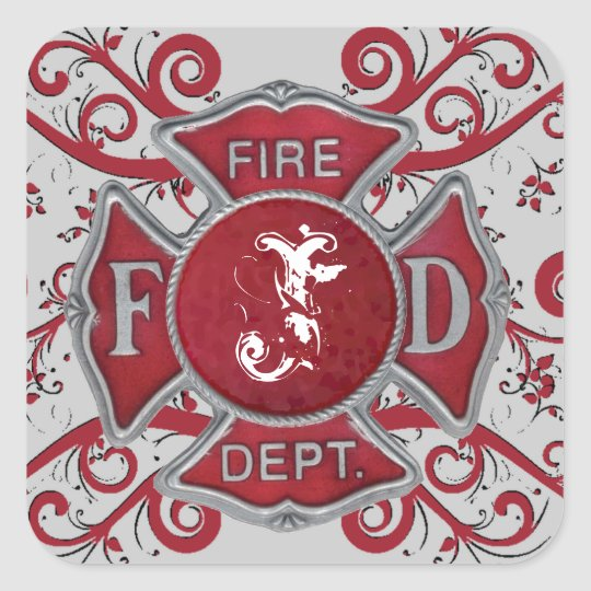 Fire Department Custom Monogram Square Sticker