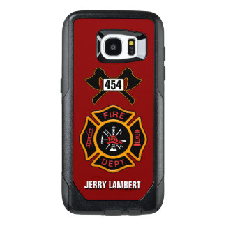 Fire Department Firefighter Emblem Name Template OtterBox Samsung Galaxy S7 Edge Case