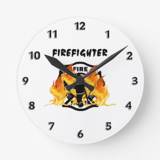 Fire Department Flames Round Clock
