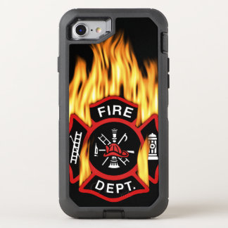 Fire Department Flaming Badge OtterBox Defender iPhone 8/7 Case