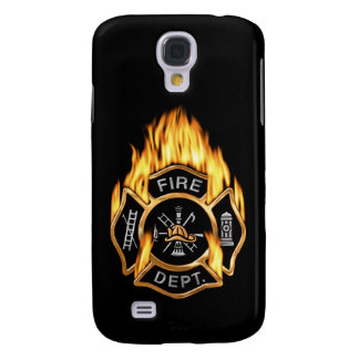 Fire Department Flaming Gold Badge Galaxy S4 Case