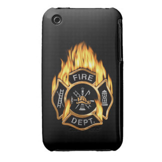 Fire Department Flaming Gold Badge iPhone 3 Case-Mate Case