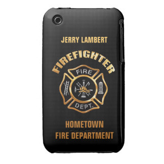 Fire Department Gold Name Template iPhone 3 Cover