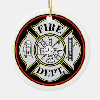 Fire Department Round Badge Christmas Ornament
