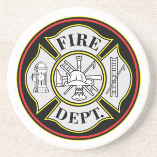 Fire Department Round Badge Coaster
