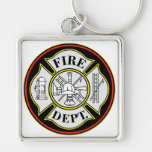 Fire Department Round Badge Silver-Colored Square Key Ring