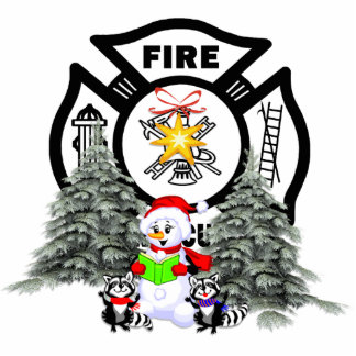 Fire Dept Christmas Scene Photo Sculpture Decoration