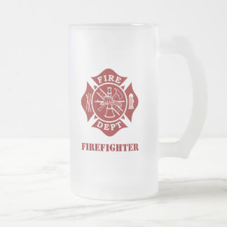 Fire Dept / Firefighter 16oz Frosted Glass Mug