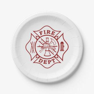 """Fire Dept / Firefighter Paper Plates 7"""""""