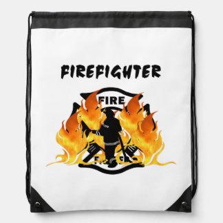 Fire Dept Flames Drawstring Backpack
