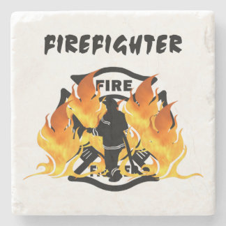 Fire Dept Flames Stone Coaster