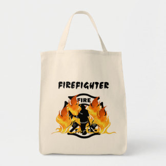 Fire Dept Flames Grocery Tote Bag
