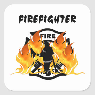 Fire Dept Flames Square Sticker
