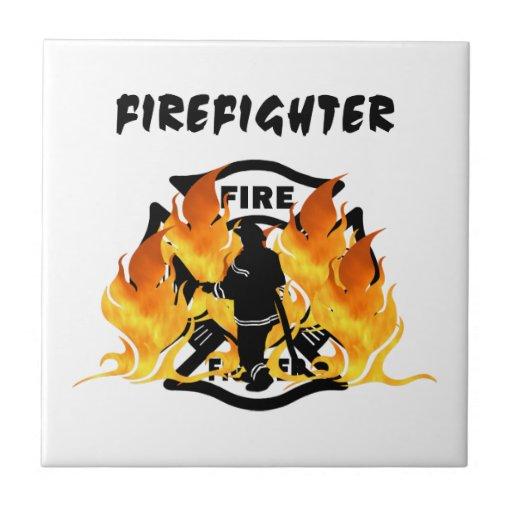 Fire Dept Flames Ceramic Tile