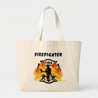 Fire Dept Flames Jumbo Tote Bag