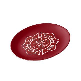 """Fire Dept Maltese Cross 8.5"""" Porcelain Plate"""