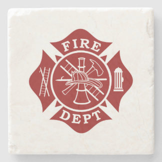 Fire Dept Maltese Cross Marble Stone Coaster