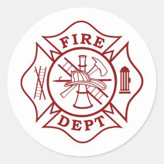 Fire Dept Maltese Cross Round Sticker