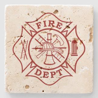 Fire Dept Maltese Cross Travertine Coaster