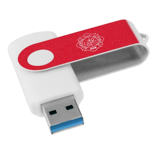 Fire Dept Maltese Cross USB Drive, 16GB, White/Red