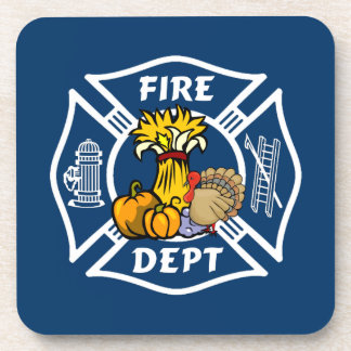 Fire Dept Thanksgiving Logo Coaster