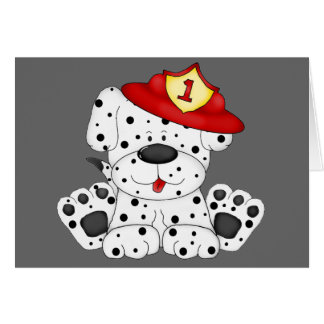 Fire Dog Dalmation and Hat Card
