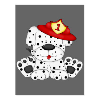 Fire Dog Dalmation and Hat Postcard