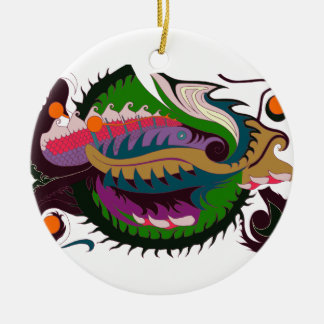 Fire Dragon (Green & Black) Round Ceramic Decoration
