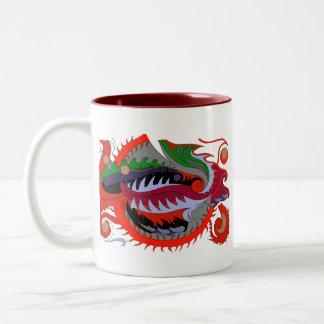 Fire Dragon (Red & Green) Two-Tone Coffee Mug