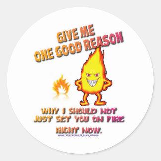 Fire Dude Round Sticker
