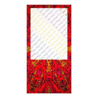 FIRE Element Kaleido Pattern Personalized Photo Card