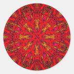 FIRE Element Kaleido Pattern Round Stickers