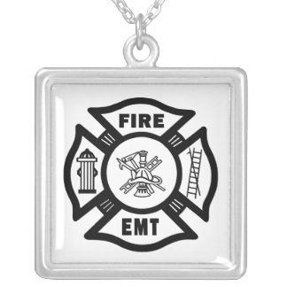 FIRE EMT SILVER PLATED NECKLACE