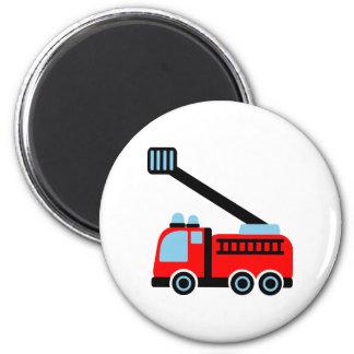 Fire engine 6 cm round magnet