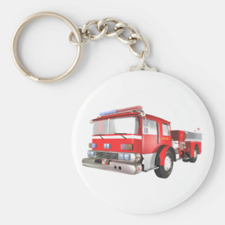 Fire Engine Basic Round Button Key Ring