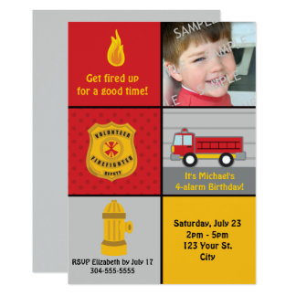 Fire Engine Birthday Party 13 Cm X 18 Cm Invitation Card