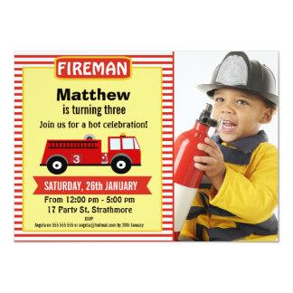 Fire Engine Birthday Party Invitation