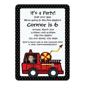 Fire Engine Birthday with Photo 13 Cm X 18 Cm Invitation Card