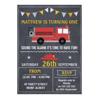 Fire Engine Chalkboard Birthday Party Invitation