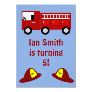 Fire Engine Children's Birthday Party Invitations