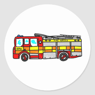 Fire Engine Classic Round Sticker