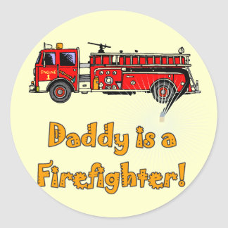 Fire Engine Daddy Firefighter T-shirts and Gifts Classic Round Sticker