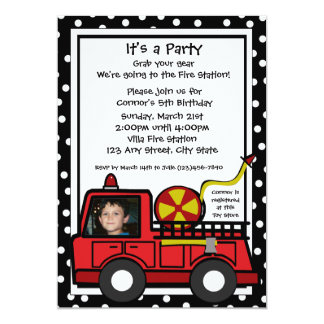Fire Engine Fun/ Photo 13 Cm X 18 Cm Invitation Card