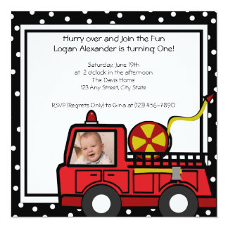 Fire Engine Fun/ Photo 13 Cm X 13 Cm Square Invitation Card