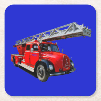 Fire engine of the 50erJahre Square Paper Coaster