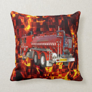 Fire Engine Polygon Graphic On Fire Mosaic, Cushion