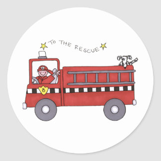 Fire Engine Round Sticker